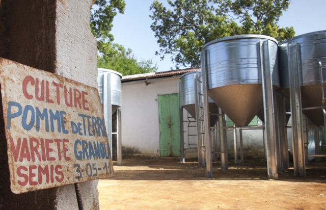Storage bins delivered to a Feed the Future demonstration plot for farmers in Goyavier, Haiti.