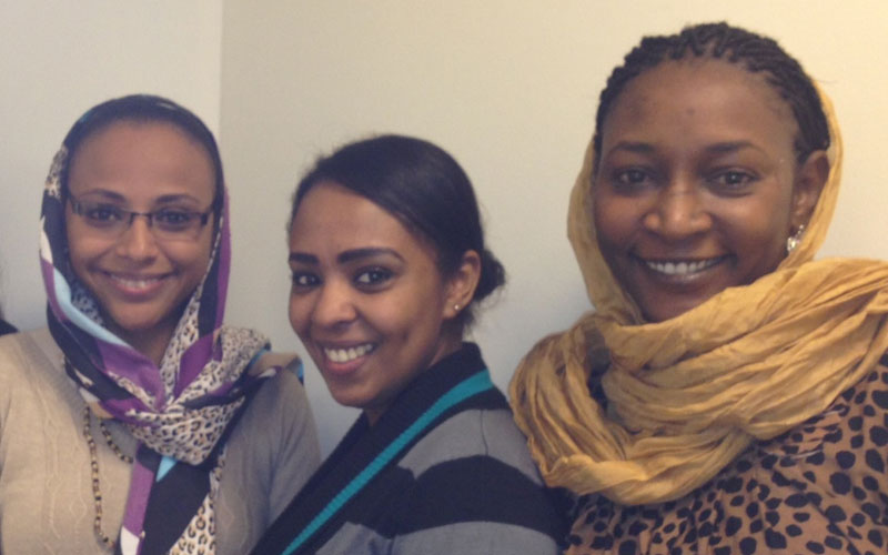 Atlas Corps fellows (L to R) Neimat Abubaker-Abas, May Abd Elnasir, and Zuhal Ahmed Fadl met with Oxfam America and Publish What You Fund to talk about gender and aid transparency in Sudan in October.