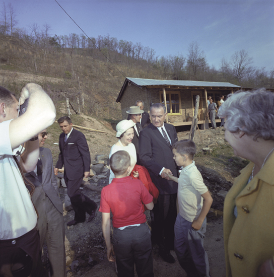 President Johnson meeting with the Fletcher family on poverty trip stop in Inez, Kentucky, April 24, 1964. Photo: http://bit.ly/1ha6gQ1