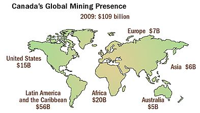 Canada's mining assets represented include properties, plant and equipment, deferred exploration expenditures,  based on audited annual reports. Compiled by Natural Resources Canada: http://bit.ly/LaKfD8