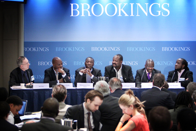 """Transformative Wealth, Transforming Economies?"" panelists: (L to R) Ian Gary of Oxfam America, Adriano Nuvunga of Mozambique, Mohammed Amin Adam of Ghana, Dr. Prosper Ngowi of Tanzania, Godber Tumushabe of Uganda, and Charles Wanguhu of Kenya. Photo: Sharon Farmer / sfphotoworks"