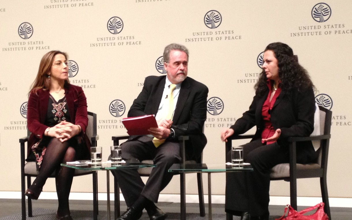 (L to R) Dr. Rim Turkmani, president and founder of Madani, Ray Offenheiser, president of Oxfam America, and Rajaa Altalli, co-founder and co-director of the Center for Civil Society and Democracy in Syria at the US Institute of Peace on March 12th, 2014.