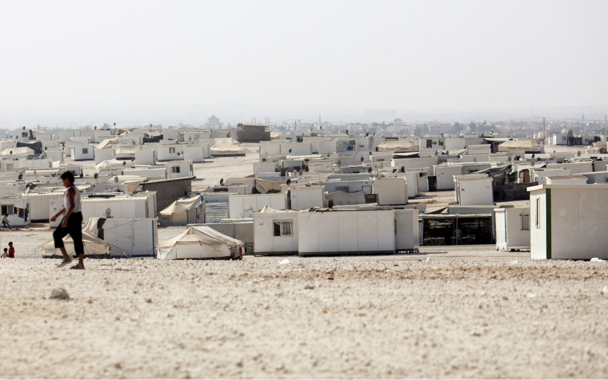 A view of Zaatari Refugee Camp in Jordan. In addition to our work in Syria, Oxfam is working In Jordan and Lebanon to improve access to clean water and sanitation and providing vulnerable families with cash assistance to help them pay for housing and other essentials. Photo: Sam Tarling / Oxfam
