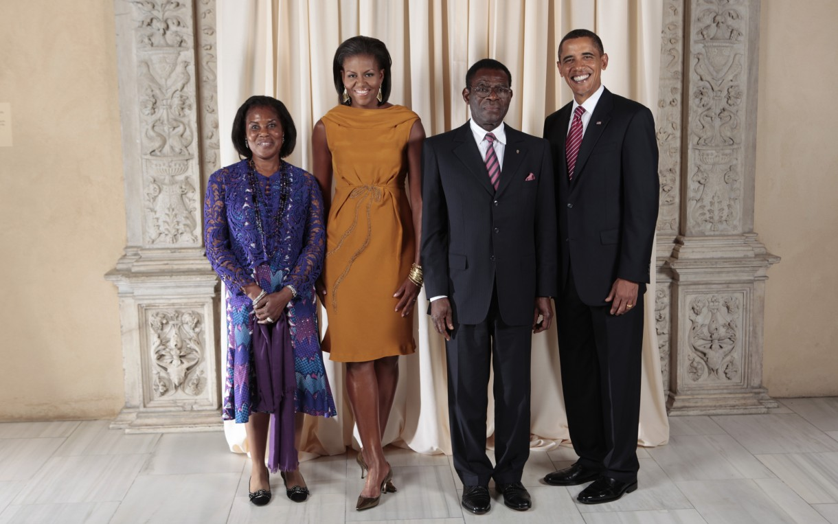 The Obamas and the Obiangs at a 2009 reception in New York. Photo: Lawrence Jackson / White House via Wikimedia http://bit.ly/1lrLRHL