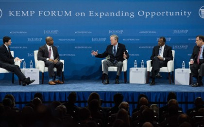 Republican presidential candidates at the Kemp Presidential Forum on Poverty. From left: Moderators House Speaker Paul Ryan, left, and Senator Tim Scott, and Presidential candidates Jeb Bush, Ben Carson and New Jersey Governor Chris Christie. Photo: Sean Rayford/AP