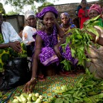 Amenata Nibaly, in purple, and other women sell vegetables at the market in Sare Yoba village, Senegal. (Photo: Holly Pickett / Oxfam America)