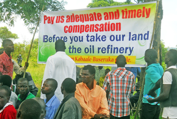 Hoima residents affected by the refinery demanding compensation. (Photo: Francis Mugerwa / Daily Monitor)
