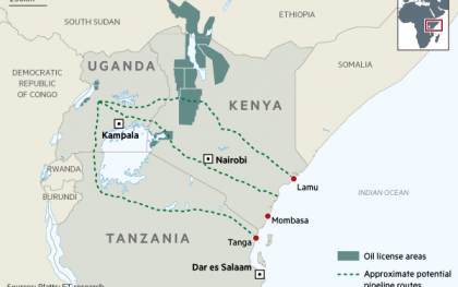 Proposed oil pipelines. (Source: http://on.ft.com/244NcXa)