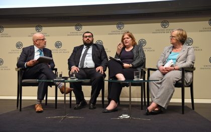 A World on Fire event panel at the U.S. Institute of Peace featuring (from left): Howard LaFranchi Journalist, Christian Science Monitor; Mr. Fadi Hallisso  CEO and Co-Founder, Basmeh and Zeitooneh; Ms. Anne C. Richard  Assistant Secretary, Bureau of Population, Refugees and Migration, U.S. Department of State; Ms. Elizabeth Ferris, Senior Adviser to the UN General Assembly's High-Level Meeting on Addressing Large Movements of Refugees and Migrants Research Professor at Georgetown University's School of Foreign Service (Photo: Courtesy of the U.S. Institute of Peace)