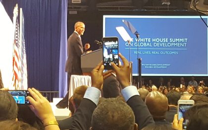 President Barack Obama speaks at the White House Global Development Summit on July 20, 2016. Source: Author.