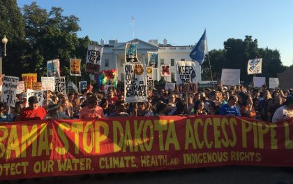 Supporters of the Standing Rock Sioux Tribe rally in opposition of the Dakota Access oil pipeline in front of the White House, Tuesday, Sept. 13, 2016, in Washington, DC. Source: The author.