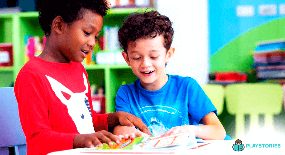 Two kids on right age to learn how to read