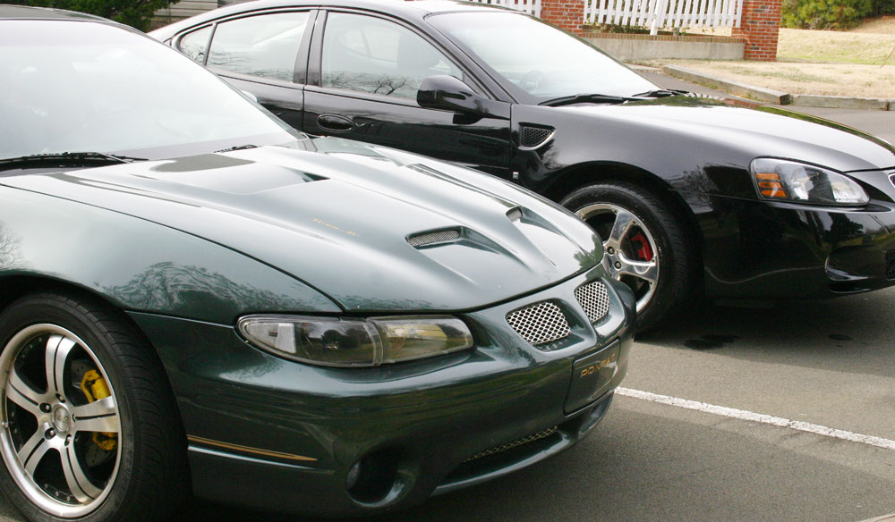 2000 Pontiac Grand Prix GTP with SD Ram Air Hood with 2006 Pontiac Grand Prix GXP in the Background