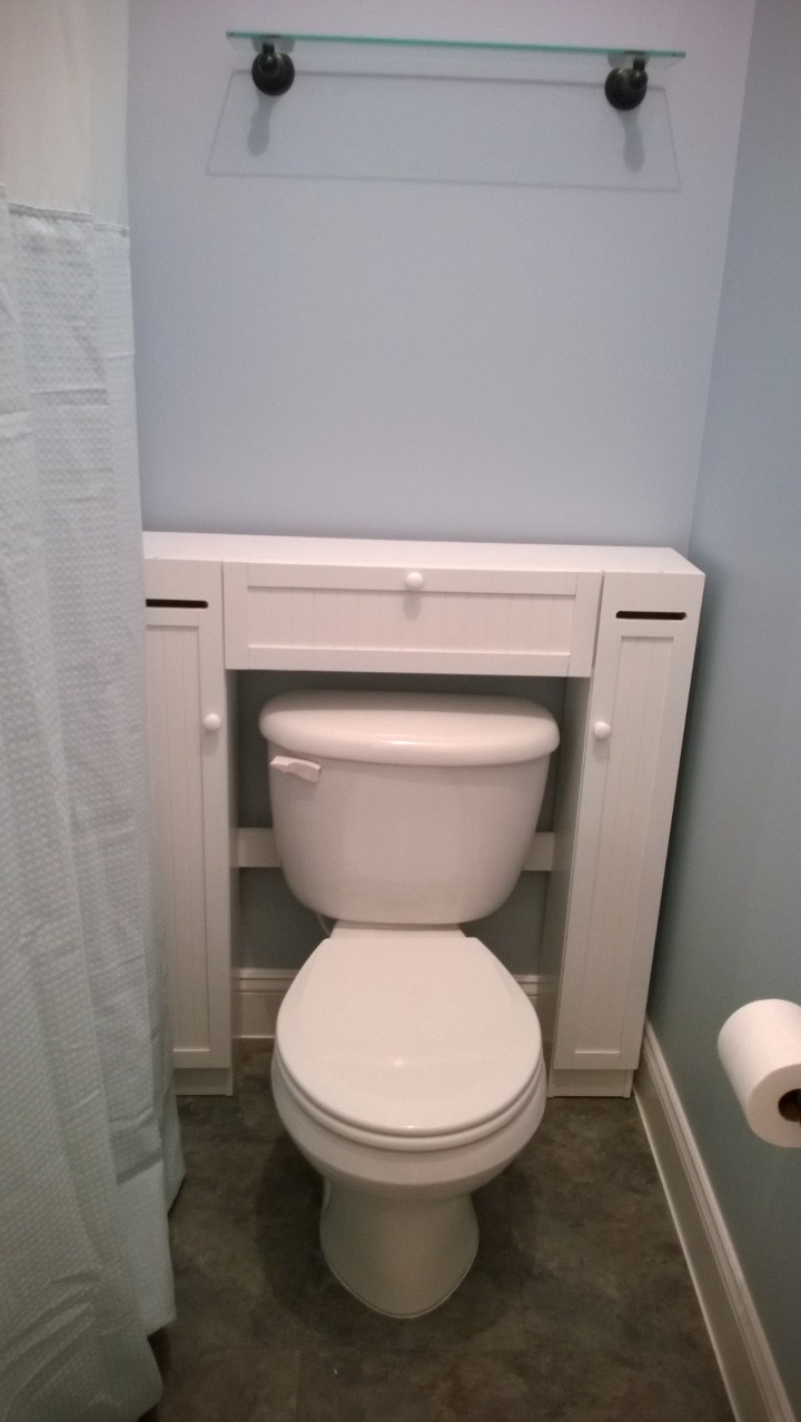 Bathroom storage around the toilet