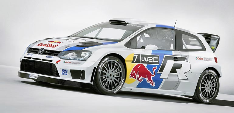 Coche deportivo Polo R WRC de Volkswagen color blanco con rines grises - Vista lateral