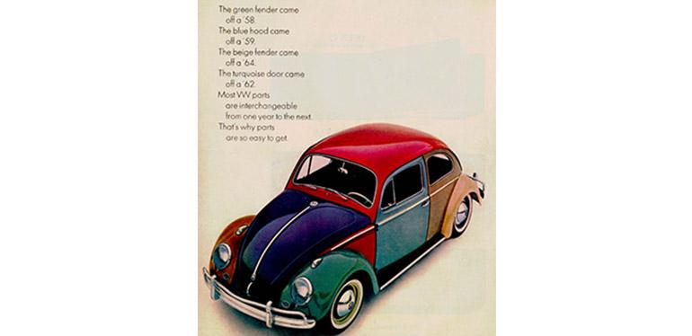 Anuncio antiguo de Vocho Arlequín de Volkswagen que tiene diferentes colores