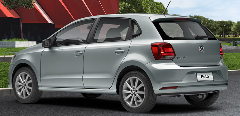 Vista en 3/4 del Polo 2019 de Volkswagen en color gris