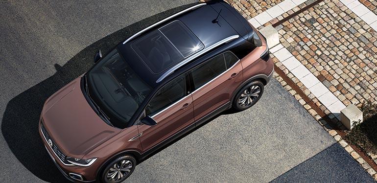 Vista superior de T-Cross, el nuevo SUV de Volkswagen