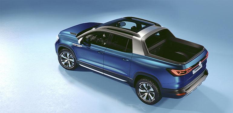 Vista superior de la nueva pick-up concepto Tarok de Volkswagen