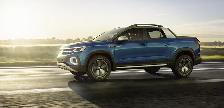Vista lateral de la nueva pick-up concepto Tarok de Volkswagen