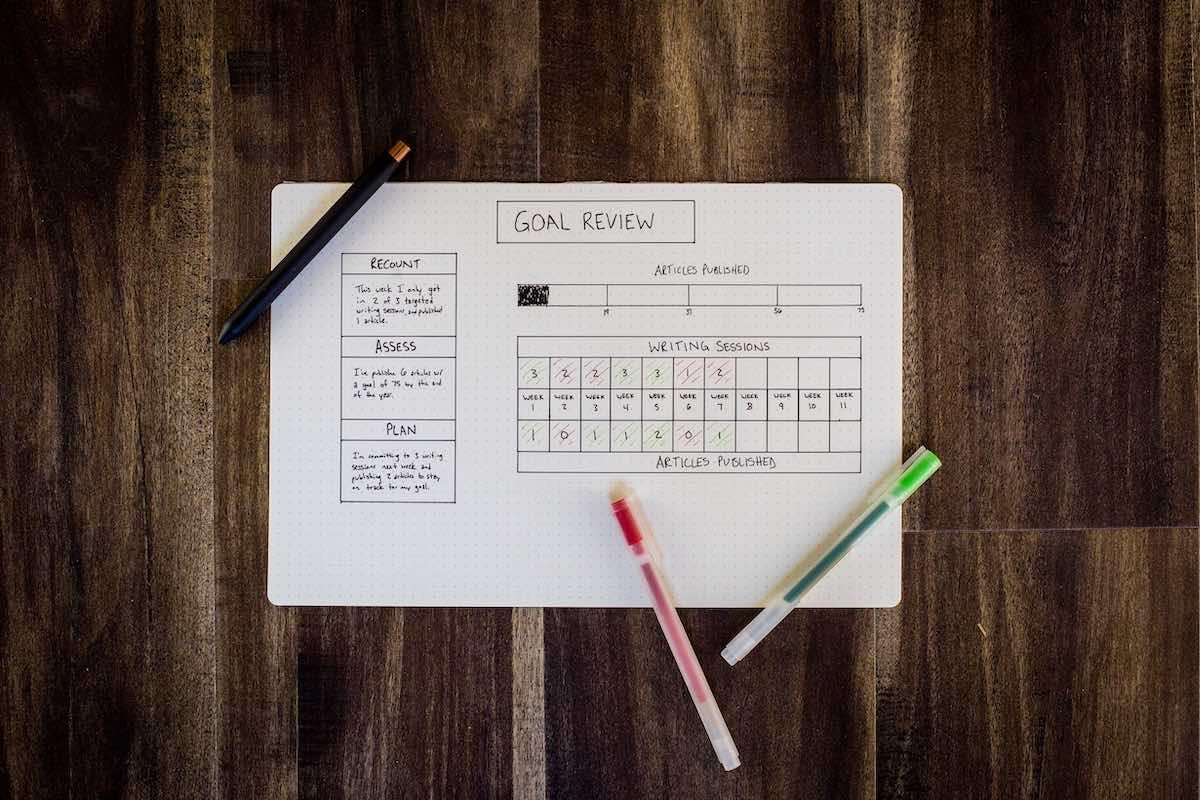 Goal planner review on desk