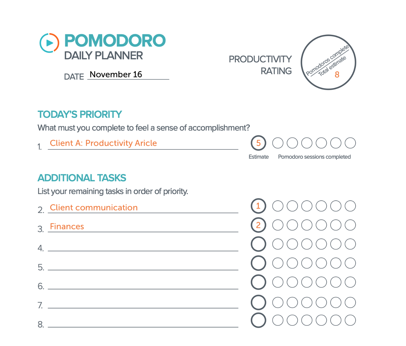focus booster weekly pomodoro planning resource