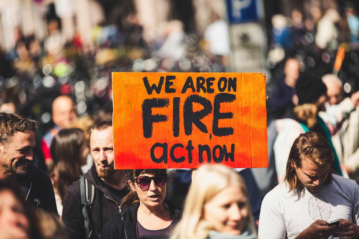 Climate change protest our planet is on fire