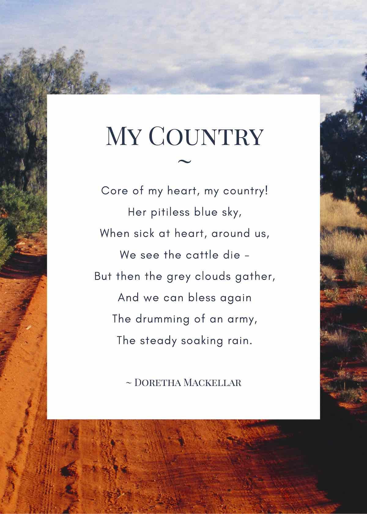 My country poem by Doretha Mackellar