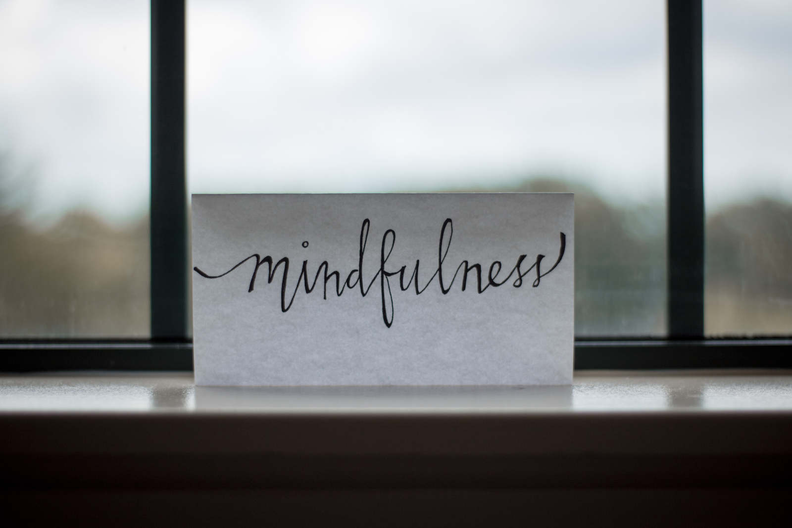 Mindfulness reminder on windowsil