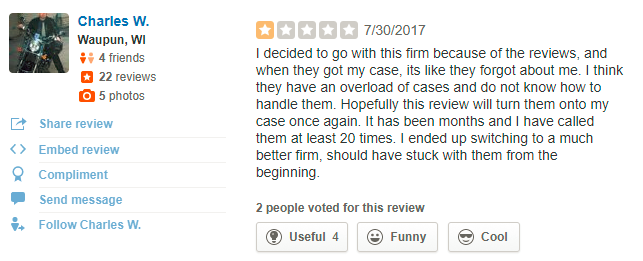 Example of a negative review.