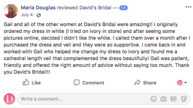 facebook review example
