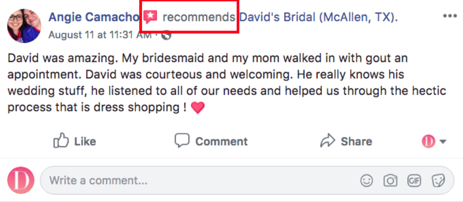 Facebook recommendation example