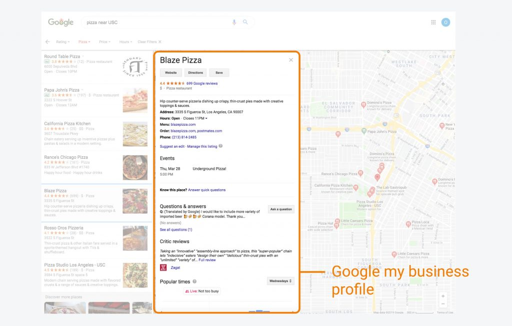 Google My Business profile