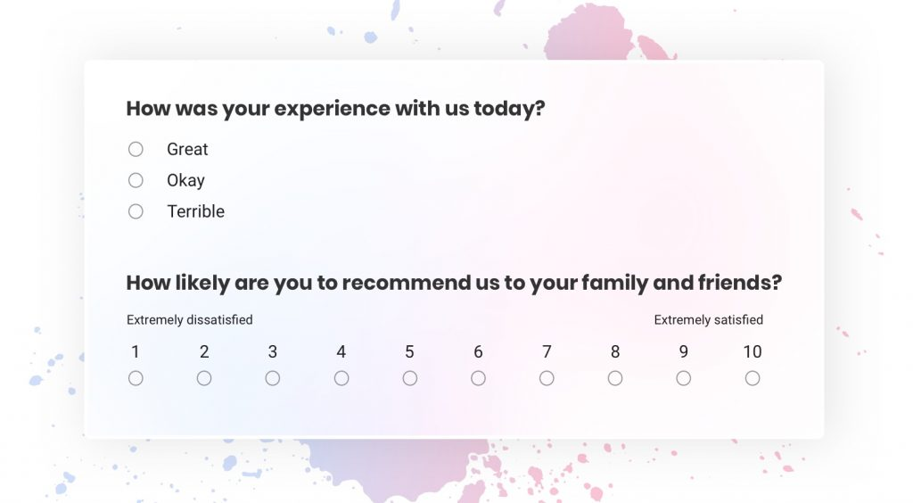 Customer satisfaction survey question examples