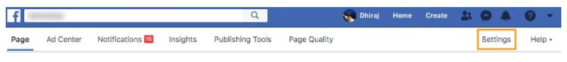 Delete Facebook business page Step 1