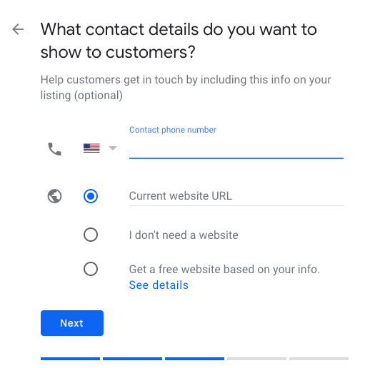 Google My Business contact info