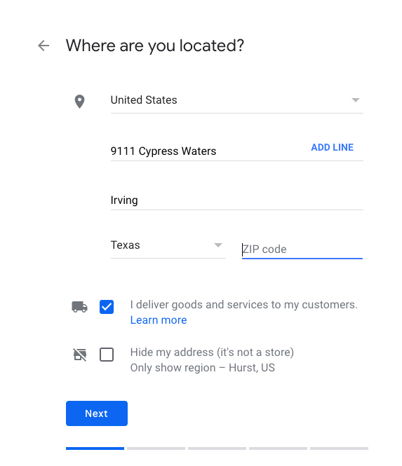 Google My Business address