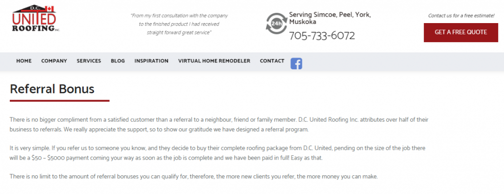 United Roofing referrals