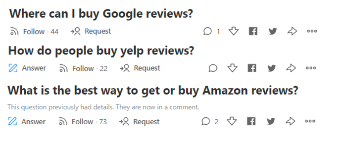 questions on fake reviews on Quora