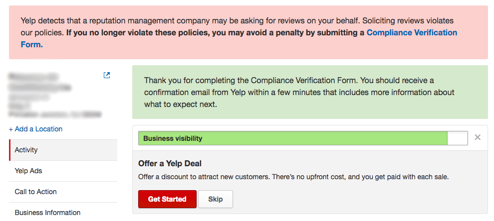 Answer the Yelp Compliance Form