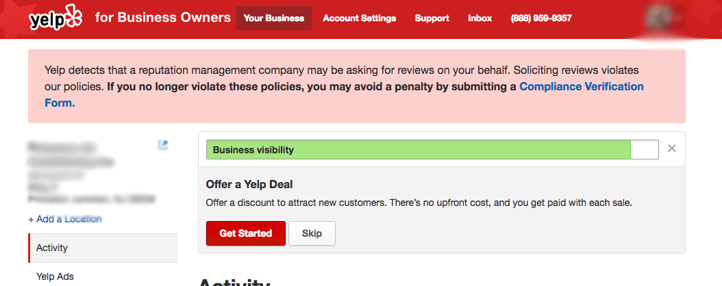 Yelp Compliance Form Answers