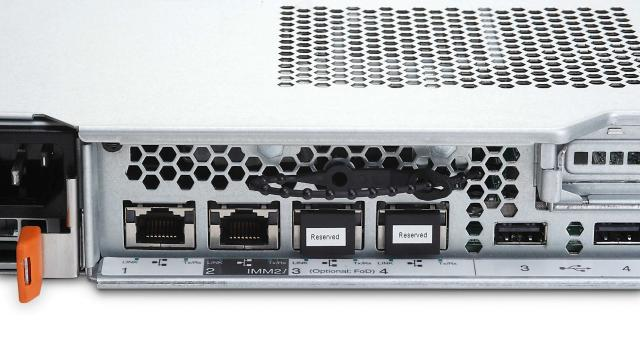 Image of the x3530 M4 showing the four Ethernet ports
