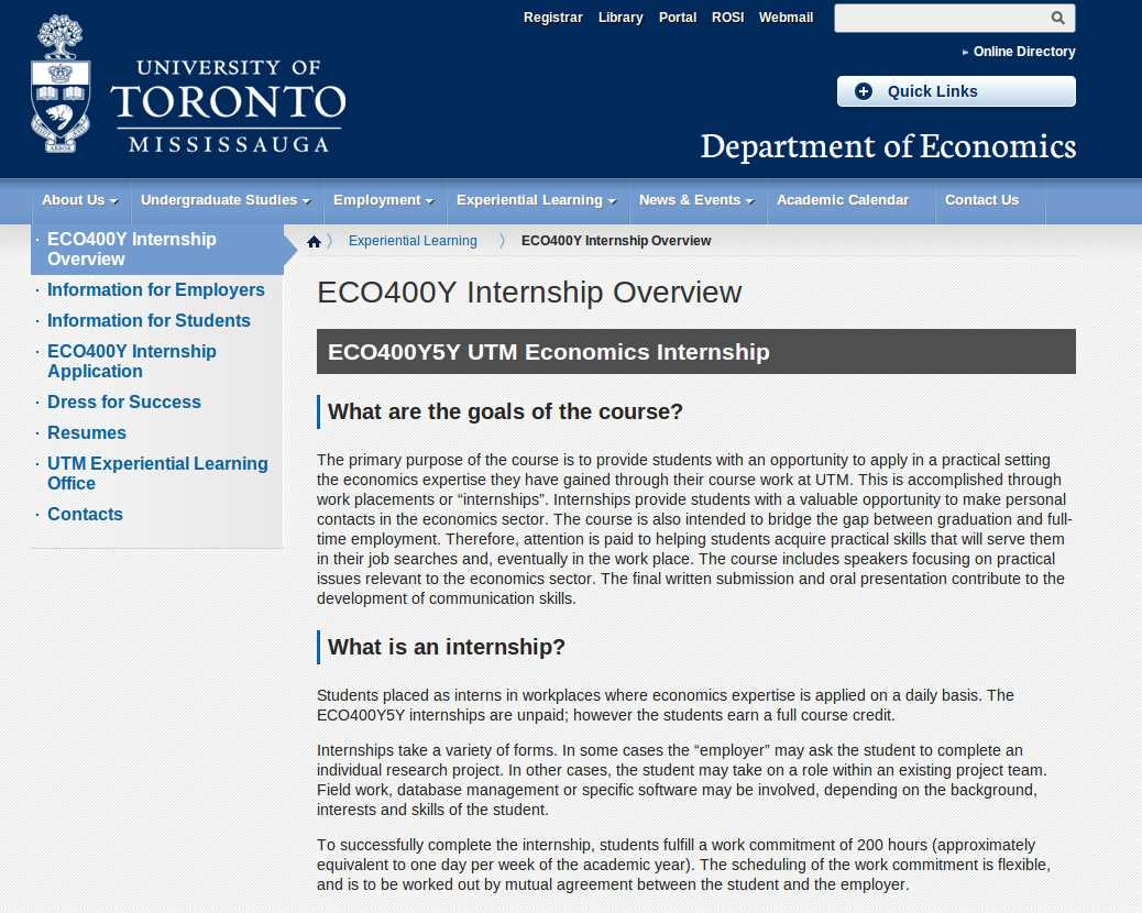 University of Toronto ECO400Y Internship