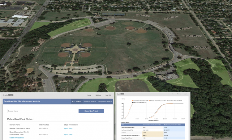 Figure 3. AutoCASE helped analyze Kiest Park for possible green infrastructure retrofits.