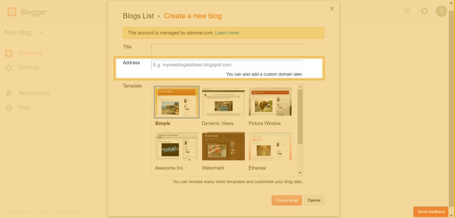 Create Blog Step 2