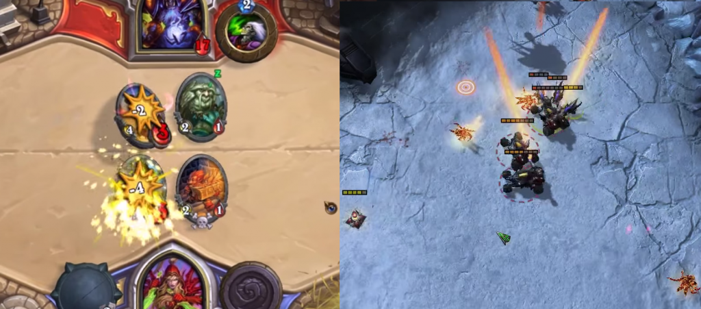 Unit-on-unit combat in Hearthstone and StarCraft. Those poor zerglings.