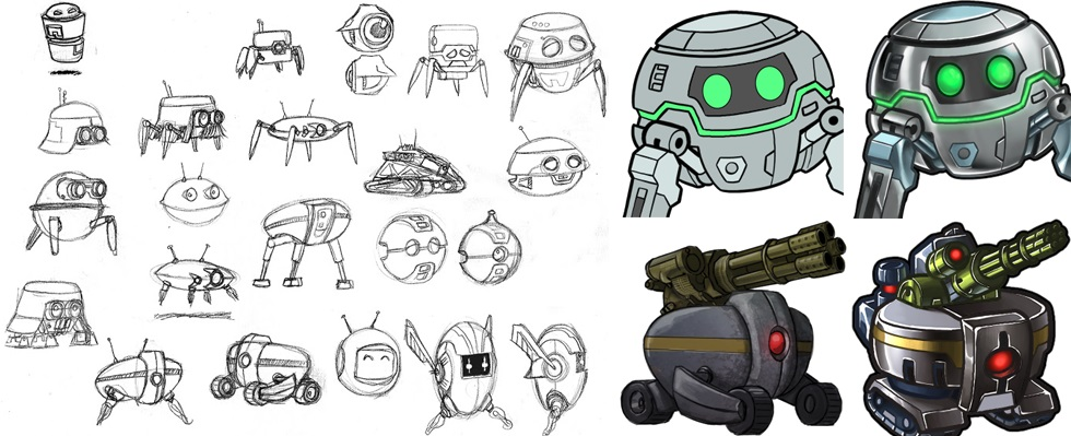 Drone concepts, sketched by our in-house artist Dan Hunter. Some of them went on to inspire other Prismata units like Militia.