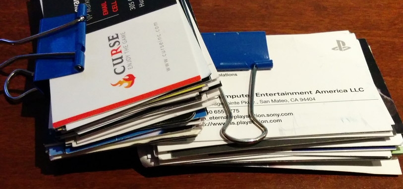 Just a few of the business cards we nabbed at PAX.