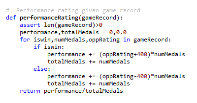 Prismata's performance rating calculation code.