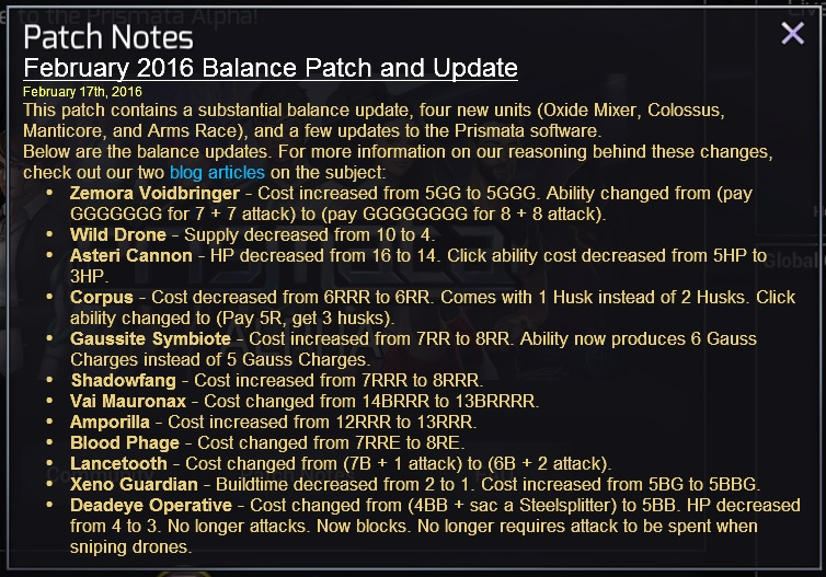 The February 2016 balance patch contained a huge number of influential unit changes.